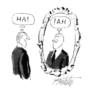 mischa-richter-man-looking-in-mirror-and-saying-ha-and-in-the-mirror-is-the-reflection…-new-yorker-cartoon_i-G-66-6614-HH9E100Z